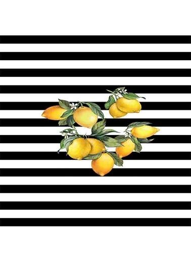 Meg & Cloud Limon Desenli Dijital Baskılı Kaymaz Taban Yıkanabilir Leke Tutmaz Mutfak Halısı Renkli